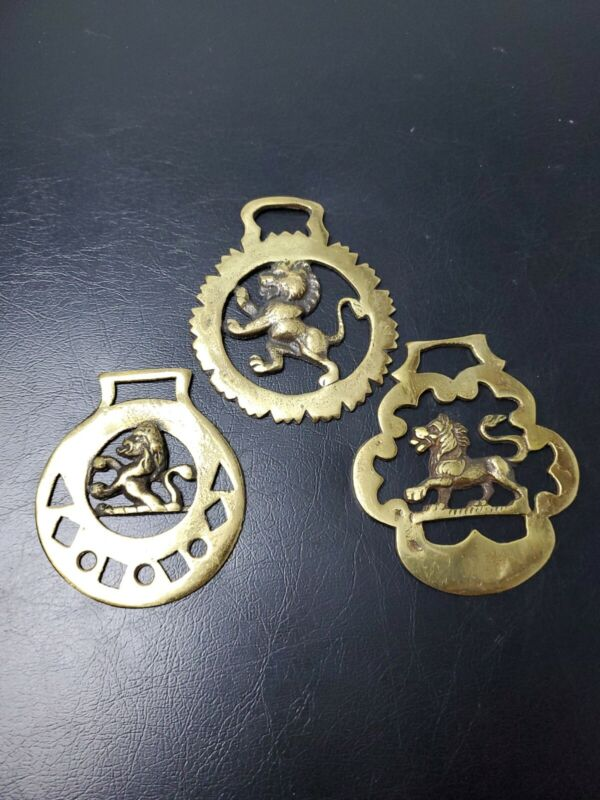 Lot of 3 Vintage Brass Finish Horse Bridle Medallions featuring Lions