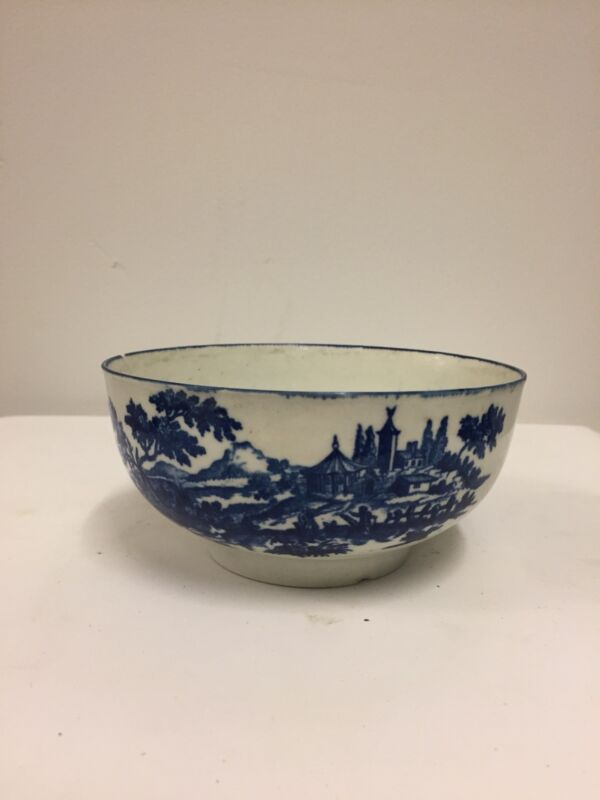 Antique English Porcelain Blue And White Bowl, Caughley, Circa 1765