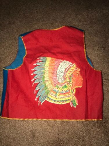 Vintage 70's Native American Indian Childrens Vest With Raccoon Tails