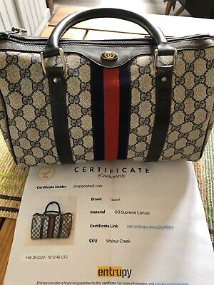 Authenticated Vintage Gucci Ophidia Web Stripe Navy GG Canvas Leather Hand Bag