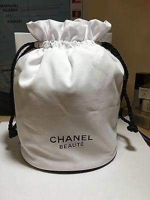 CHANEL BEAUTY STRING MAKEUP BAG WHITE COLOR 10.5 cm x 15 cm NEW BIG SPACE
