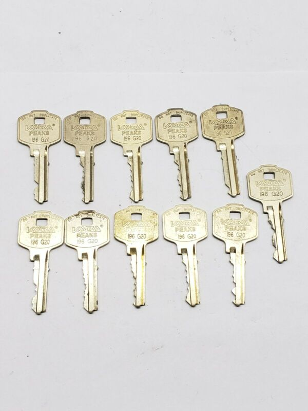 Kaba Peaks brand cut keys, # 196 G20, set of 11, locksmith