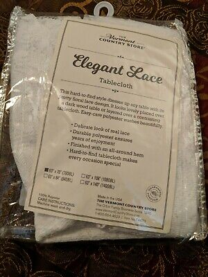 """Vermont Country Store Elegant Lace Tablecloth 63"""" x 70"""" (700BL) NEW NIB USA made"""