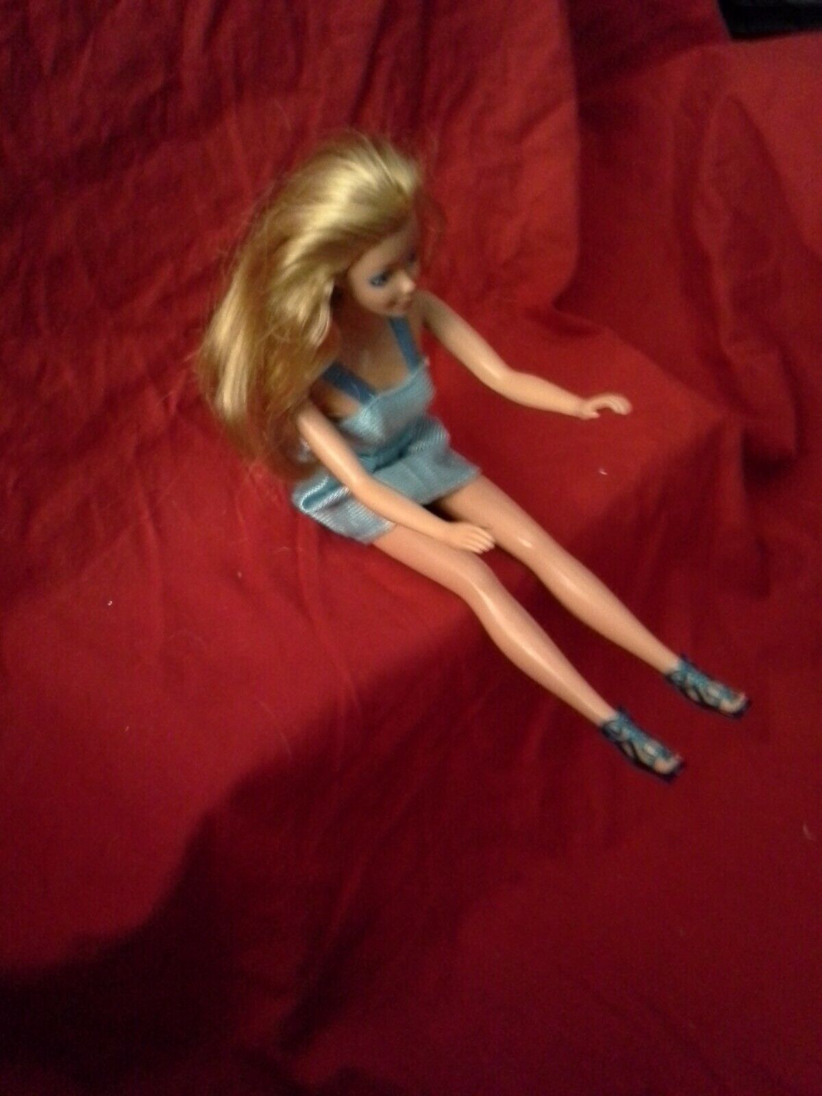 Barbie Doll TNT Bendable Knees Blonde Soft Long Hair DRESSED DEEP BLUE EYES - $6.49