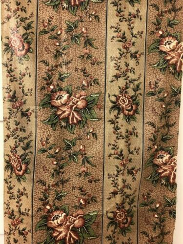 Gorgeous Antique c1840 Glazed Cotton Floral Chintz Yardage
