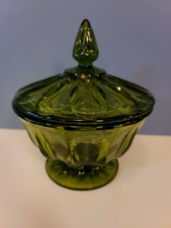 Vintage Green Compote Glass Decorative Lidded Candy Jar