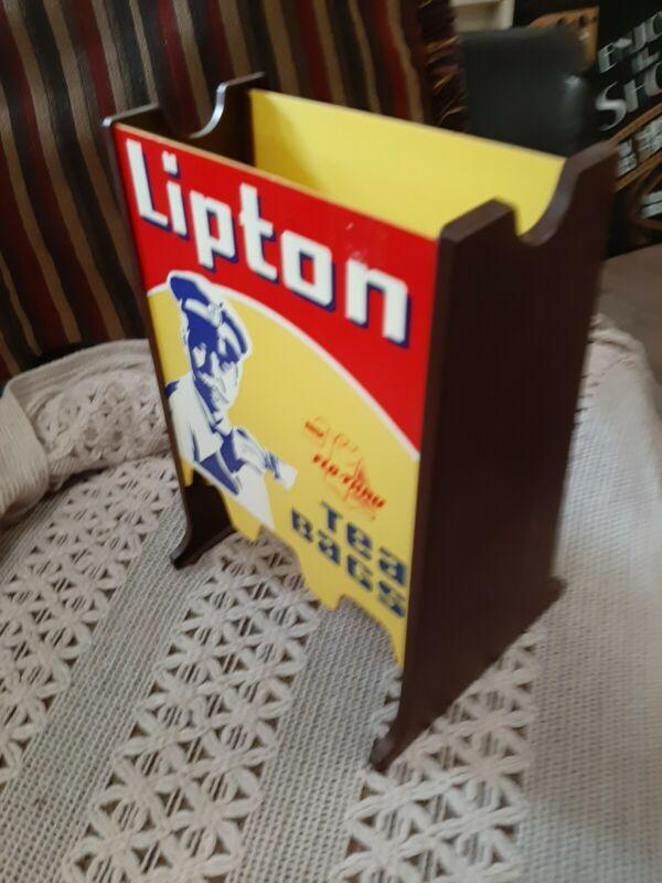 Lipton FLO THRU Tea Bag Stand HOLDER Resturant CAFE  Diner Hard Plastic YELLOW