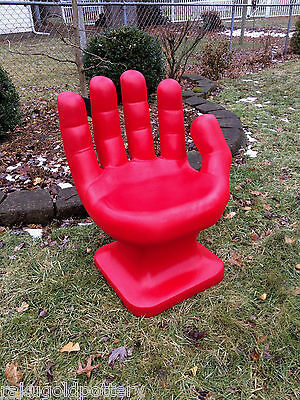 "GIANT Red HAND SHAPED CHAIR 32"" tall adult size 70's Retro EAMES iCarly NEW"