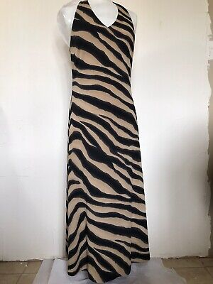 Ralph Lauren Dress Size M Animal Print Black  Halter Zipper Brand New WT $119