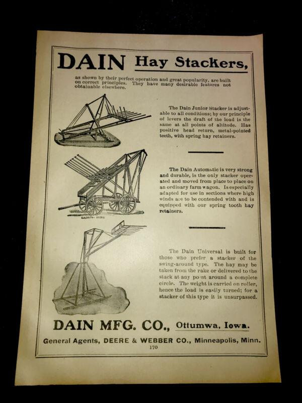 1908 Dain Hay Stackers Farm Advertising - Ottumwa - Iowa & Minneapolis