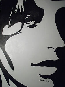 Abstract Black White Pop Art Face Portrait Large Oil ...