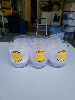Set of 6 Vintage Los Angeles Lakers Tumbler Old Fashioned Frosted Glasses Mobile