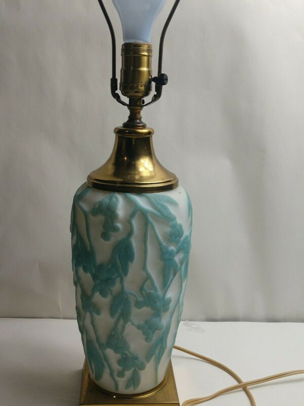 """Consolidated Glass Phoenix Cameo Satin Art Glass Turquoise Blue Table Lamp 24"""""""