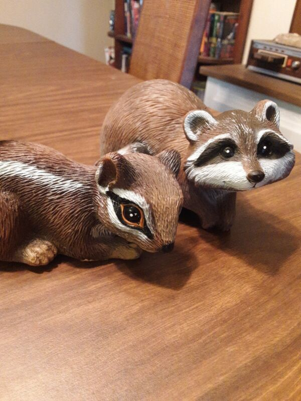 1992 Vintage Art Line Pair Of Raccoon and Squirrel Figurines