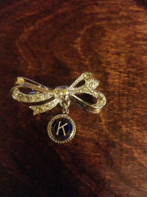 Vintage Kiwanis International Bow / Rhinestones Pin, Brooch, Used