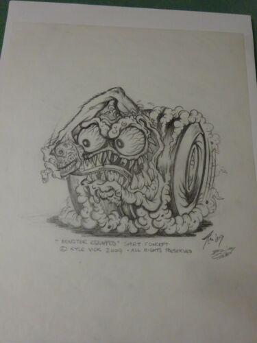 """MONSTER EQUIPPED"" JOHNNY ACE ORIGINAL ART ROUGH PENCIL VELLEM RAT FINK ED ROTH"