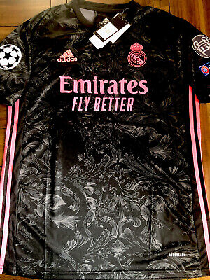 Real Madrid 2020-2021 Third Kit, Black and Pink Jersey, Size L
