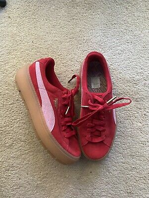Puma Platform Trace Cleated Red Lace Up Suede Womens Trainers