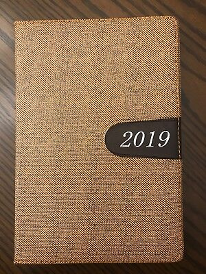 2019 Planner Calendar Tabbed Travel Student Teacher Agenda Appointment 5x8 Beige