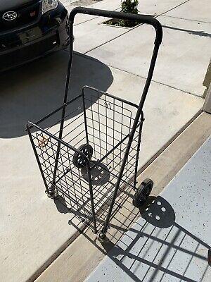 Foldable Shopping Cart Jumbo Basket Rolling Utility Trolley Adjustable Handle