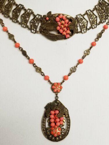 Antique Art Nouveau Simulated Coral & Brass Repousse Necklace & Bracelet Set
