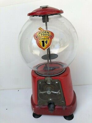 ACORN - Antique Penny Gum Ball Machine - Working Condition