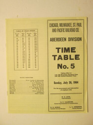 Milwaukee Road Time Table No. 5 July 26, 1964 Aberdeen  Division