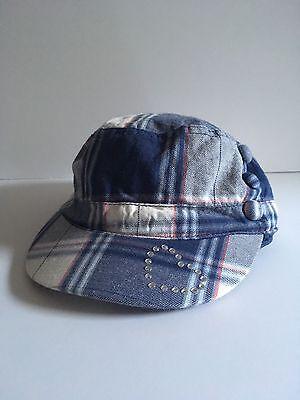 The Childrens Place Girls Hat Blue Plaid Baseball Cap Rhinestone Heart Size 4 6