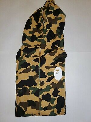 100% Authentic A Bathing Ape Bape Duck Yellow Camo Full Zip Hoodie New Size L