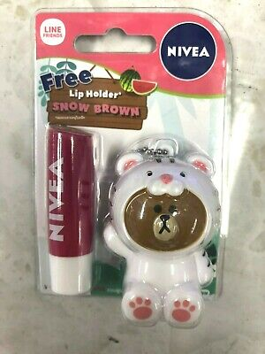 NIVEA Lip Care Balm Fruity Strawberry Shine Line Friends Holder