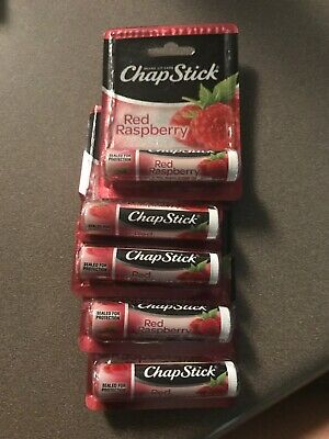 Chapstick RED RASPBERRY Lip Balm Lot of 5 NEW Carded