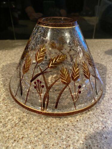 Yankee Candle Jar Topper/ Shade Wheat Crackle Glass