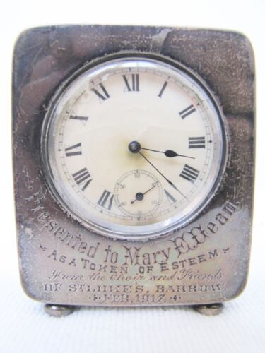 Antique 1917 Sterling Silver Desk Clock