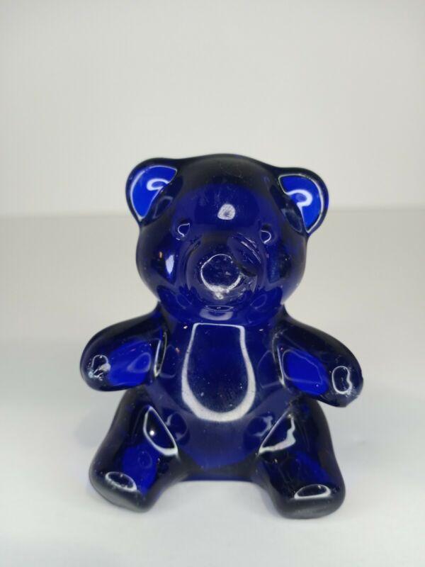 Oneida 24% Lead Crystal Cobalt Blue Glass Bear Hand Cut & Blown VTG NO CHIPS