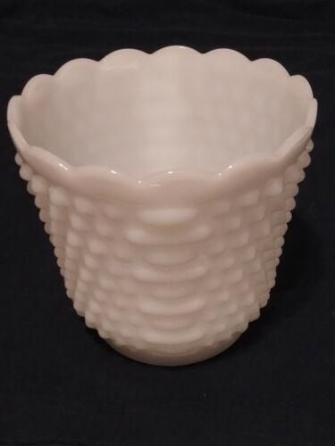 Milk Glass Flower Pot Vase Hobnail