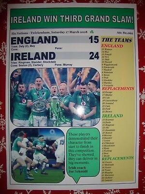 England 15 Ireland 24 - 2018 Six Nations Grand Slam - souvenir print