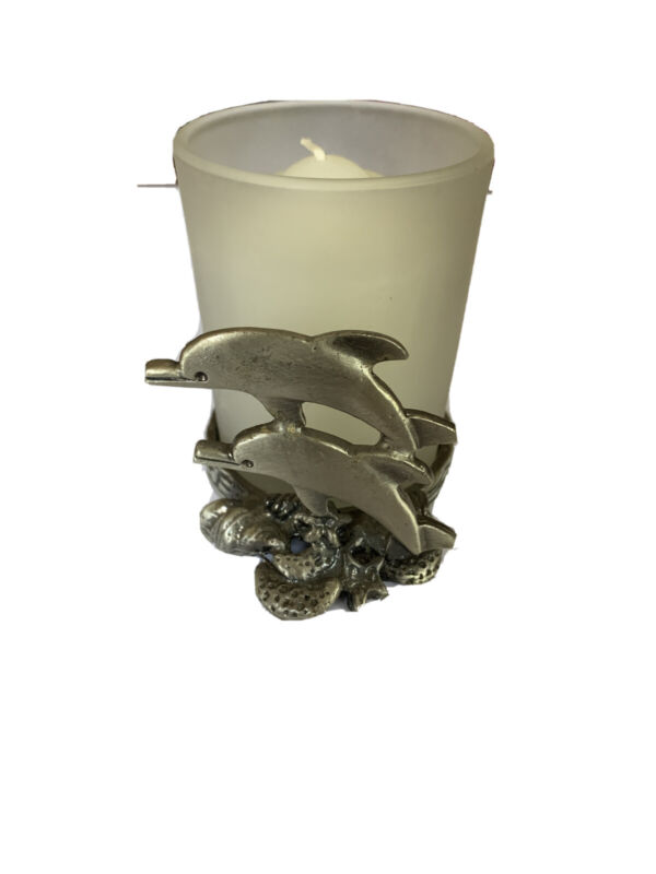 Pewter Double Dolphin Votive Candle Holder