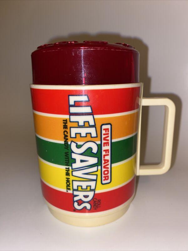 Vintage Deka Plastic Life Savers Coffee Mug Sippy Cup Drink Glass Red Cherry Lid
