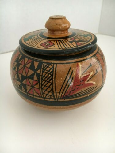 VINTAGE PISAC CUSCO PERU HANDCRAFTED & PAINTED POTTERY BOWL/LID
