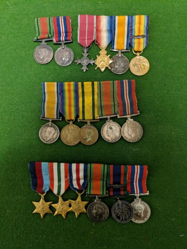 Collection Of WW2 & WWII Miniature Medals. MID. MBE. Territorial Medal.(4x)
