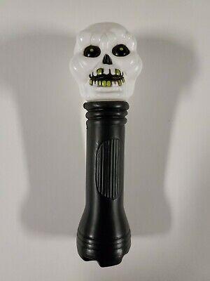Vintage Halloween Skull Blow Mold Flashlight Skeleton Lantern Gold Teeth RARE