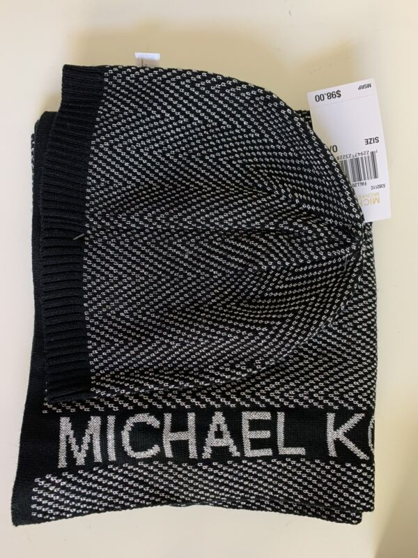 Michael Kors Scarf & Hat Set - Black Silver Nwt - $98