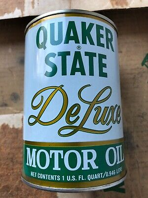 Quaker State DeLuxe Motor Oil Quart Metal Can Garage Hot Rod Gas FULL NOS USA SH