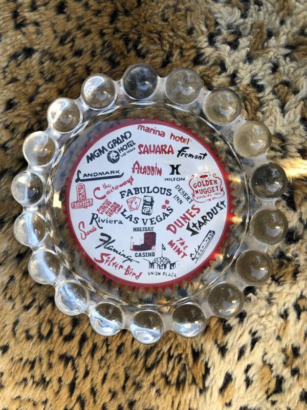 Vintage FABULOUS Las Vegas Casino Hotel Hobnail Glass Ashtray Souvenir - EUC!