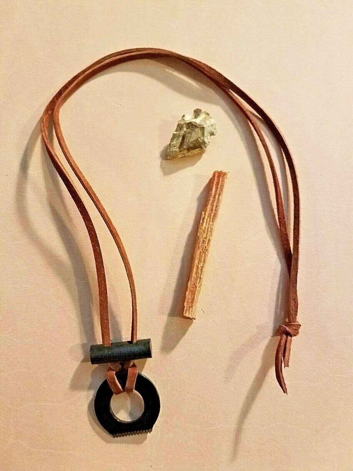 Firesteel Ferro Rod Fire Starter Survival Necklace - Fat Woo