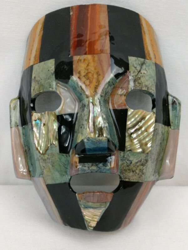 Mexican Mayan Aztec Stone Warrior Mask Handcrafted Agate Abalone Turquoise  Onyx