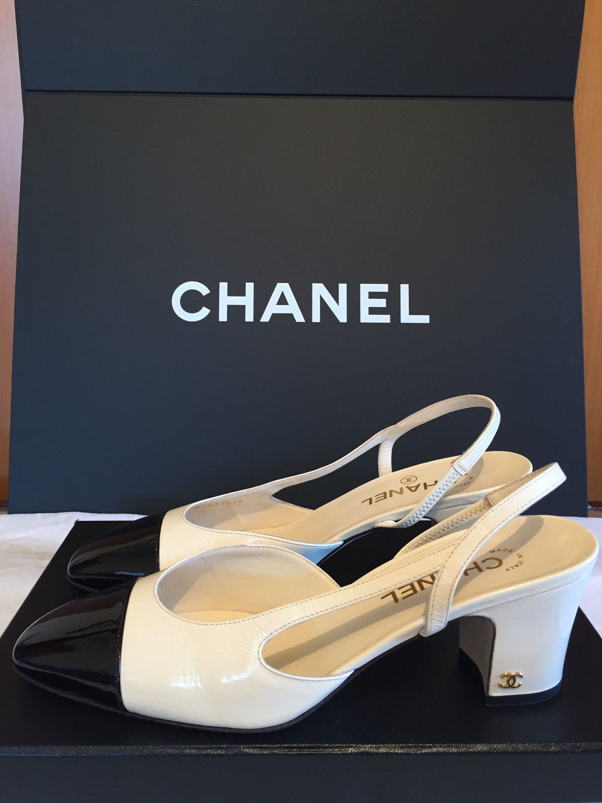 Chanel TwoTone Off White Black Patent Leather Slingback Shoes 405 US 10 12