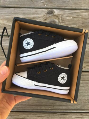 Brand New Black Converse Baby Booties Crib Shoes Size 3