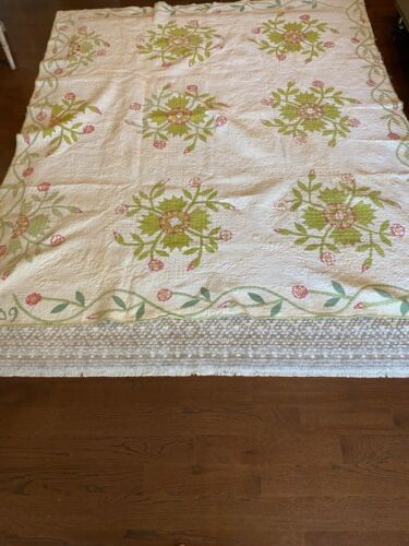 Dated 1849 Antique Whig Rose Appliqué Quilt Handmade 88 inches by 77 Beautiful