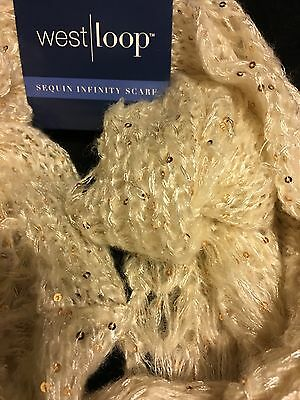 Sequin Scarf Infinity Scarf West Loop Gold Sequin Scarf Light And Soft New